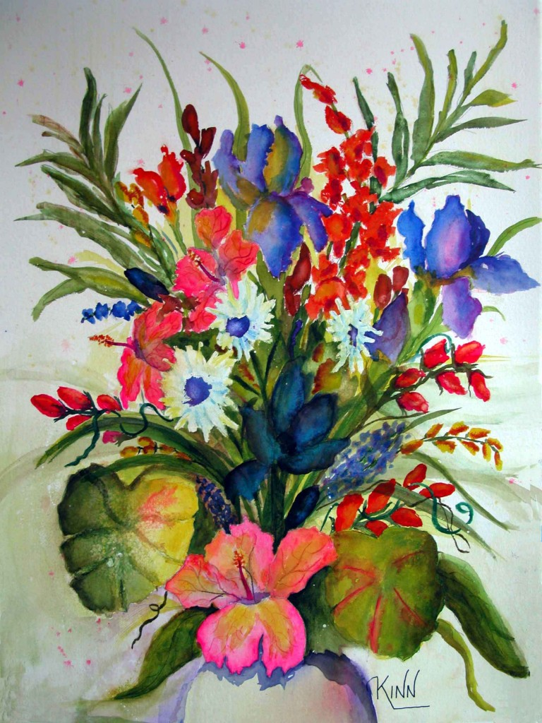 Flowers, 22x30 watercolor, $780
