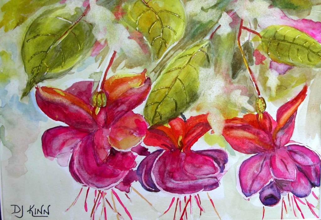 Fuchsia, 6.5x9 watercolor, $233