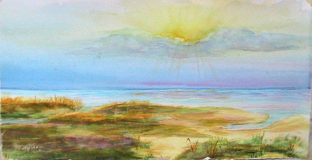 St. Simons at Sunset, 12x20 Watercolor, $480