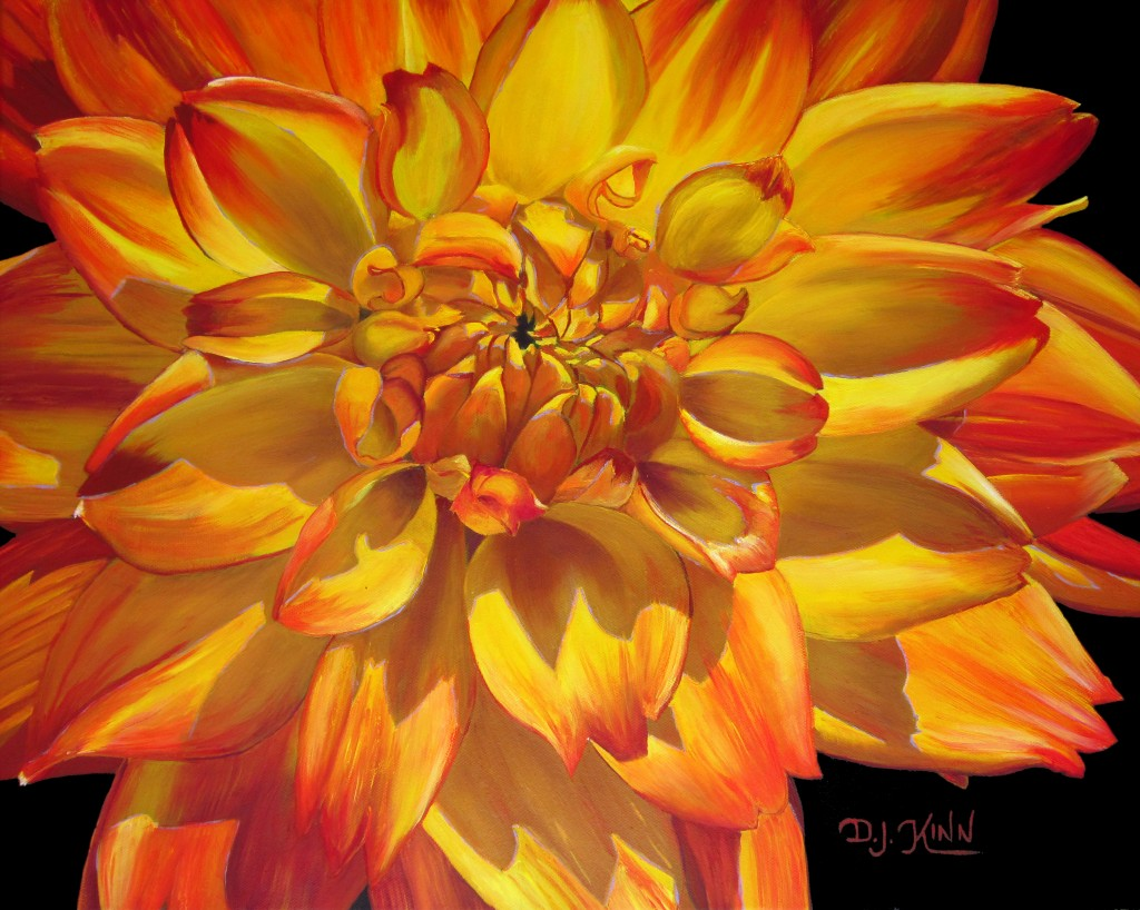 Yellow and Orange Variegated Dahlia; 16x20 oil on stretched canvas; $2,560